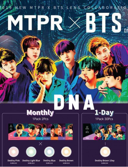 BTS DNA Color Lens (1 month/2 lens/box) + Random Photocard
